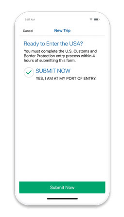 mobile passport submission screen