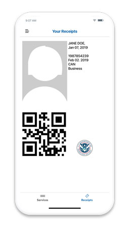 mobile passport qr code screen